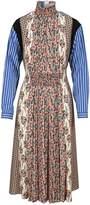 Prada Contrasting Prints Rouched Dress