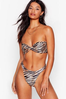 Nasty Gal Womens Herd There's a Pool Party Zebra Bandeau Bikini Set - Beige - 14