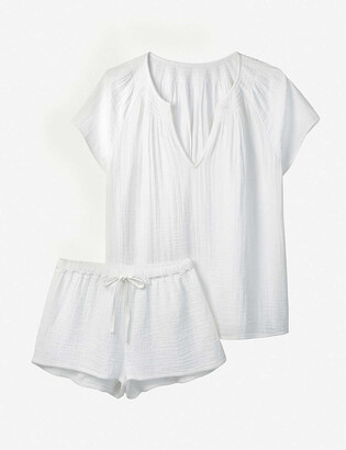 The White Company Gathered-neckline relaxed-fit cotton-jersey pyjama set