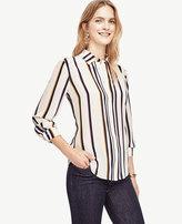 Ann Taylor Striped Silk Blouse