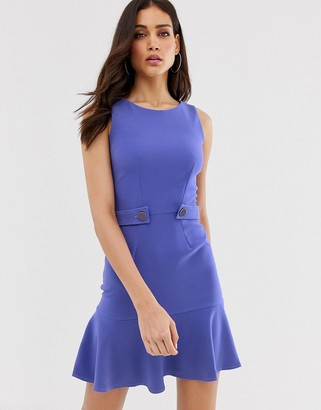 Closet London Closet flared hem shift dress-Purple