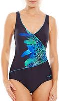 Zoggs Blue Planet Wrap Front Swimsuit