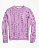 Brooks Brothers Cashmere Diamond Cable Crewneck Sweater
