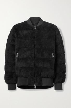 Moncler Quilted Fleece Down Bomber Jacket - Black
