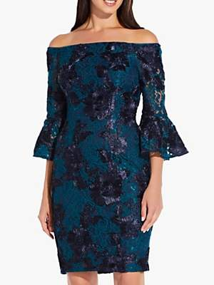 Adrianna Papell Off Shoulder Embellished Cocktail Dress, Midnight Teal/Navy