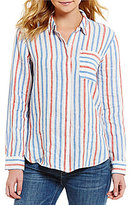 Vince Camuto Two By Long-Sleeve Sport Striped Button-Down Top