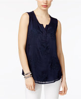 Style&Co. Style & Co Petite Embroidered Split-Neck Top, Only at Macy's