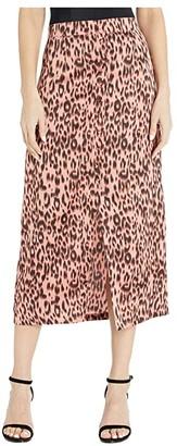 BB Dakota Printed Leopard Reverse Crepon Midi Skirt (Rose) Women's Skirt