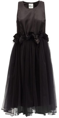 Noir Kei Ninomiya Ruffled Satin And Tulle Dress - Black