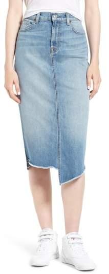 7 For All Mankind Spliced Hem Denim Midi Skirt