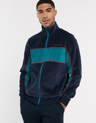 Original Penguin velour contrast chest panel track jacket in navy