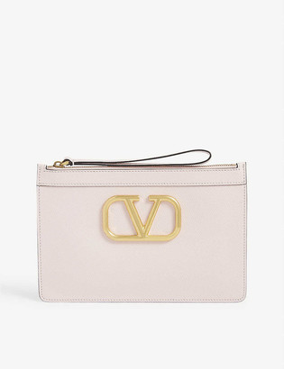 Valentino V Logo leather pouch