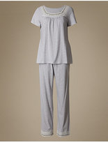 M&S Collection Crochet Trim Striped Pyjamas with Cool ComfortTM Technology