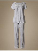 M&S Collection Modal Blend Crochet Trim Striped Pyjamas