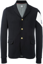 Moncler Gamme Bleu contrast brand armband blazer - men - Cotton/Cupro - M