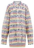 Ashish Mirror-applique Oversized Shirtdress - Womens - White Multi