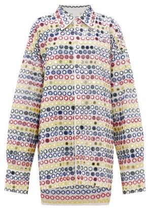 Ashish Mirror-applique Oversized Shirt Dress - Womens - White Multi