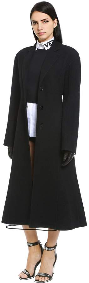 Versace Flared Double Wool Coat