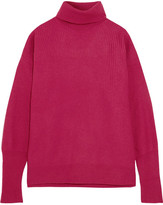 Maison Margiela Suede-paneled Ribbed Wool-blend Turtleneck Sweater - Pink