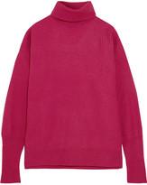 Maison Margiela Suede-paneled Ribbed Wool-blend Turtleneck Sweater