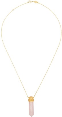 Anni Lu 18kt gold-plated La Spirit Rose quartz necklace