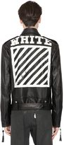 Off-White Stripes Print Nappa Leather Biker Jacket