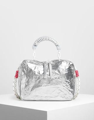 Charles & Keith Rope Handle Wrinkled Effect Metallic Bag