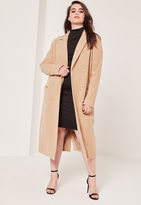 Missguided Plus Size Double Breasted Faux Wool Coat Camel