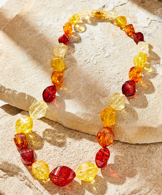 V3 Jewelry Women's Necklaces Multi - Yellow & Red Amber Beaded Statement Necklace