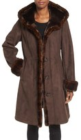 Gallery Women's Hooded Faux Shearling Long A-Line Coat