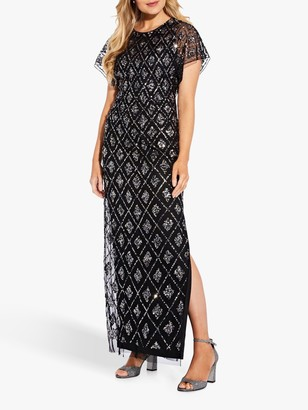 Adrianna Papell Geometric Print Sequined Maxi Dress, Black