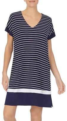 Donna Karan Striped Short-Sleeve Sleepshirt