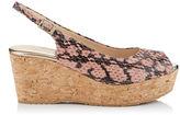 Jimmy Choo PRAISE Ballet Pink Shiny Snake Print Leather Cork Wedges
