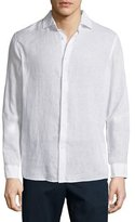 Michael Kors Linen Long-Sleeve Sport Shirt, White