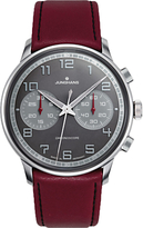 Junghans 027/3685.00 Meister Driver Chronoscope Leather Strap Watch, Burgundy/charcoal