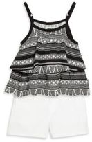 DKNY Toddler's and Little Girl's Two- Piece Top and Shorts Set