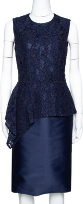 Carolina Herrera Navy Blue Lace Sleeveless Peplum Dress S
