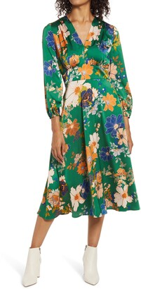 Maggy London Floral Long Sleeve Midi Dress