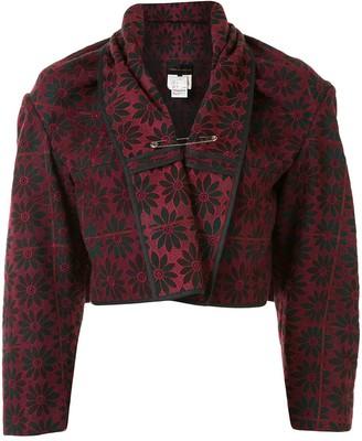Comme Des Garçons Pre-Owned Floral Jacquard Cropped Jacket
