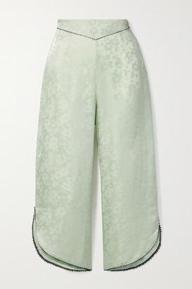 Morgan Lane Margo Cropped Picot-trimmed Satin-jacquard Pajama Pants