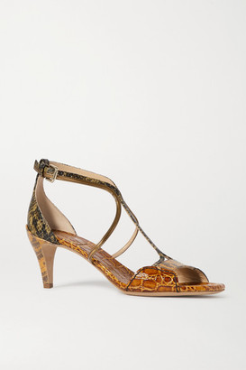 Chloé Carla Snake- And Croc-effect Leather Sandals - Yellow