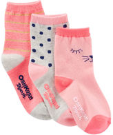 Osh Kosh 3-Pack Cat Crew Socks