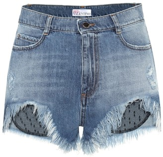 RED Valentino Tulle-trimmed denim shorts