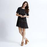 Apricot Black Dark Floral Print Shift Dress
