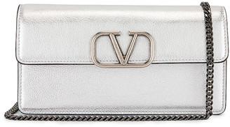 Valentino Garavani VSling Wallet on Chain Bag in Silver   FWRD