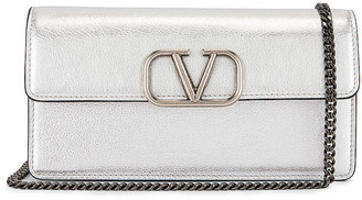 Valentino Vsling Wallet on Chain Bag in Silver | FWRD