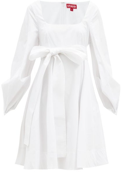 STAUD Isabella Square-neck Cotton-blend Mini Dress - White
