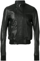 Rick Owens cropped leather bomber jacket - men - Cotton/Goat Skin/Cupro/Wool - 48