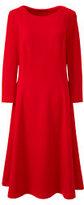 Lands' End Women's 3/4 Sleeve Ponté Flounce Dress-Bright Boreal Blue Floral