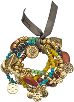 Bee Charming Set of Five Gold and Multicolor Bead Maya Bracelets